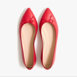 J. Crew | Gemma Leather Bow Red Flats